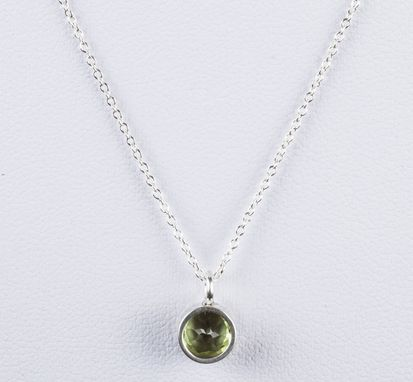 Custom Made Sterling Silver Faceted Peridot Astrology Pendant Necklace August