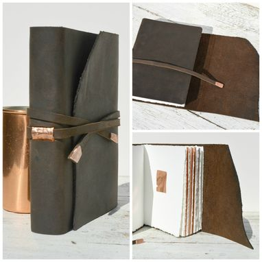 Custom Made Leather Bound Handmade Elegant Travel Adventure Journal Copper Diary