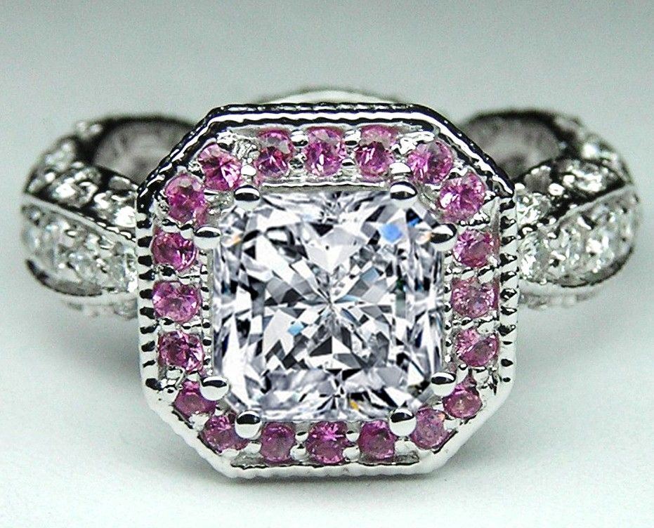 pink diamond wedding ring custom radiant and pink sapphire halo engagement 6576