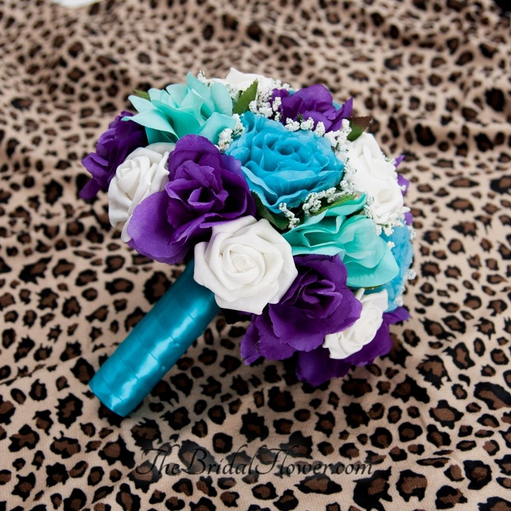 hand made purple turquoise and aqua teal tiffany blue round bridal bouquet with malibu blue. Black Bedroom Furniture Sets. Home Design Ideas