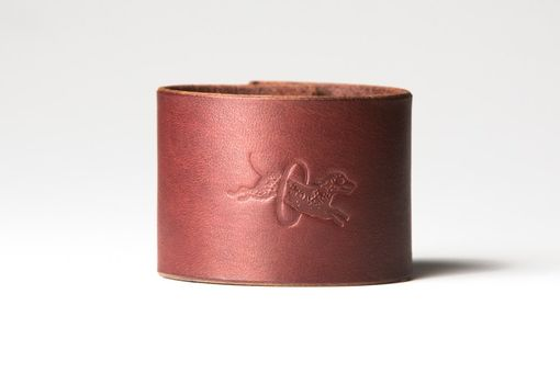 Custom Made Chestnut Brown Leather Cuff - Nickel Fasteners - 2 Inches Wide
