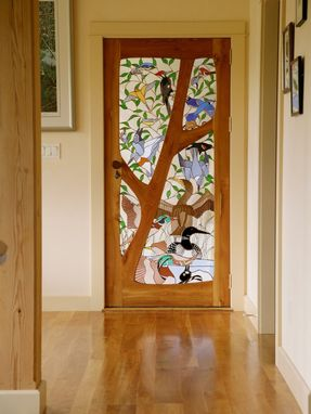 Custom Made Stained Glass Door - Birds