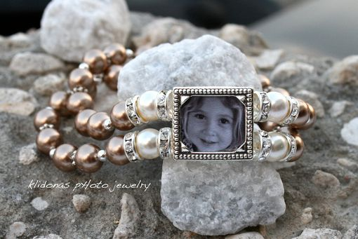Custom Made Photo Bracelet With Bronze Swarovski Pearls And Rhinestone Accents For Mother Of The Bride Or Groom