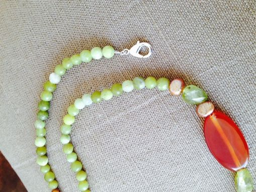 Custom Made Necklace 21 In, Handcrafted, Agates, Pearls, Quarz, Jade, Silver