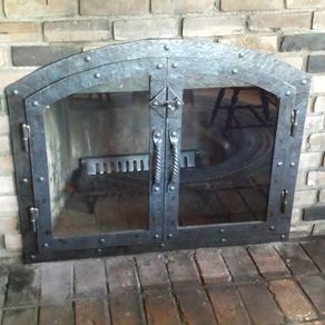 Custom Hammered Iron Fireplace Doors Screen Twisted Handle by  Kevin Lipka Screens Set Accessories