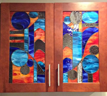 "Custom Made Stained Glass Cabinet Inserts - ""Modern Abstract Bird"" - Ci-17"
