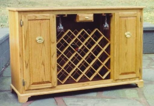 Custom Made Oak Wine Cabinet