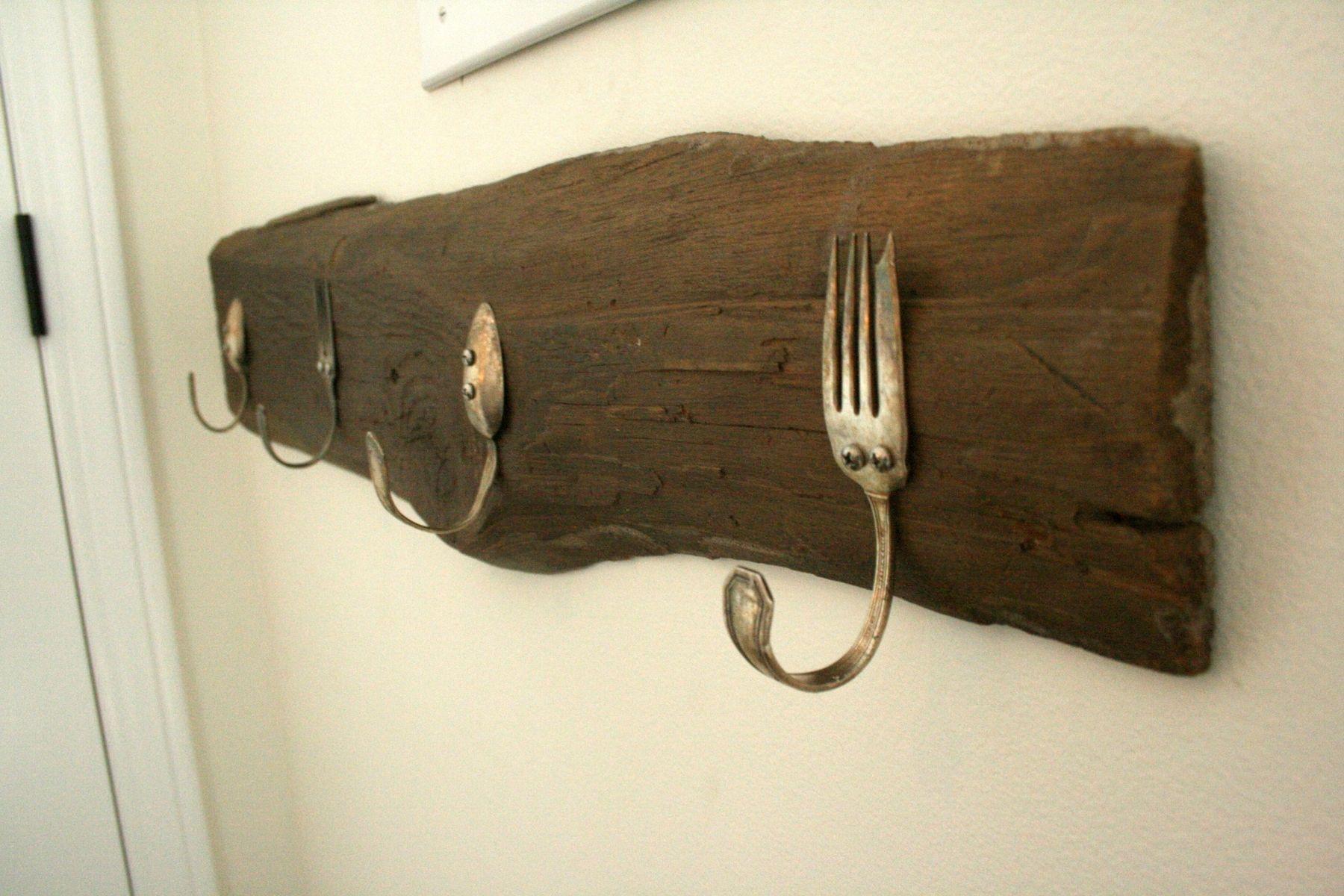 Custom vintage silverware coat hook by knot 2 shabby - Porte manteau mural bois ikea ...