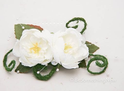 Custom Made Ivory Flowers And Moss Wedding Hair Comb, Wedding Hair Accessories