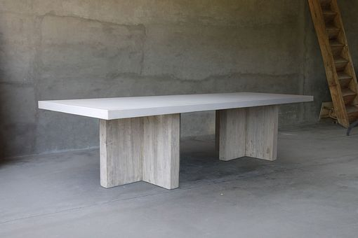 Custom Made Concrete And Reclaimed Table