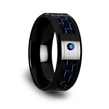 Custom Made Odell Black Ceramic Ring With Black And Blue Carbon Fiber And Blue Sapphire Setting - 8mm