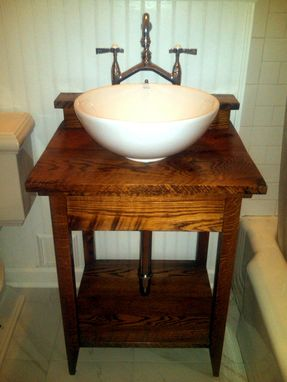 Custom Made Rustic Bathroom Vanity From Reclaimed Antique Oak