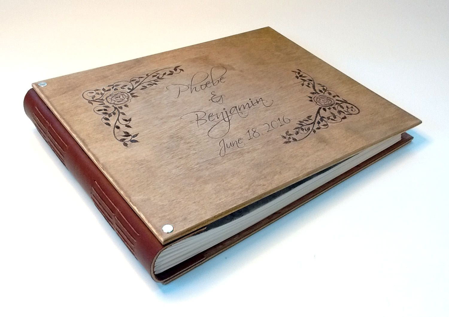 Custom Made Personalized Hand Engraved Wedding Al Guest Register Journal