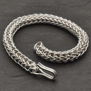 Custom Made Large Fine Silver Loop In Loop Bracelet