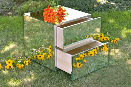Custom Made Hollywood Glam Mirrored Nightstands / End Tables With Drawers