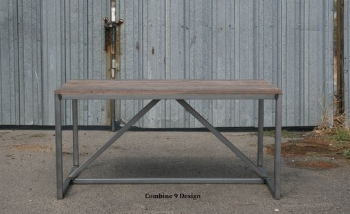Custom Made Modern Dining Table/Desk Made Of Reclaimed Wood And Steel. Vintage Industrial Style.