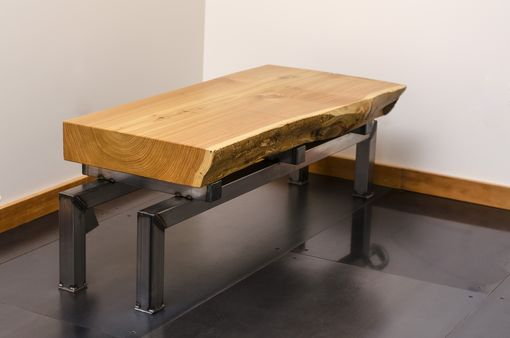 Custom Made Live Edge Cedar Slab Coffee Table On Industrial Steel Base