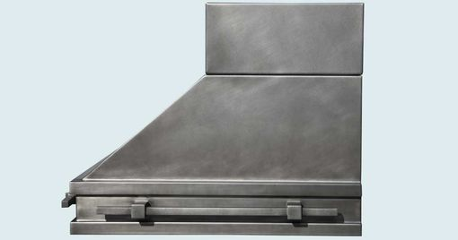 Custom Made Steel Range Hood With Stack & Square Pot Rails