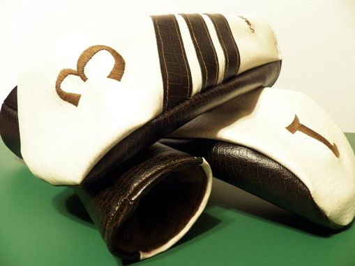 Custom Made Brown Snake/White Ostrich Custom Fore Leaf Golf Head Cover Set, Driver/Fwy/Hyb