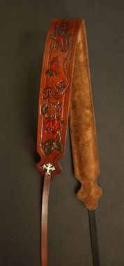 Custom Made Custom Hand Tooled Leather Ladies Banjo Strap