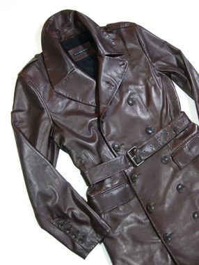 Custom Made Men's Bespoke Oxblood Brown Leather Edwardian Trench Coat