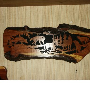 Custom Made Wolf Pack Woodcraving On Mesquite Slab