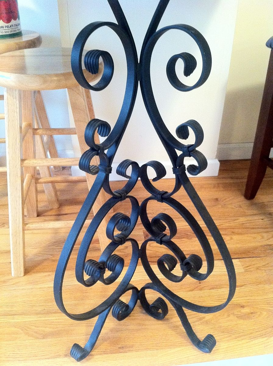 Custom Made Wrought Iron Kitchen Table End Scrolled Leg