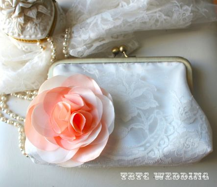 Custom Made Lace Wedding Clutch Purse With Peach And Ivory Satin Handmade Flower Accent