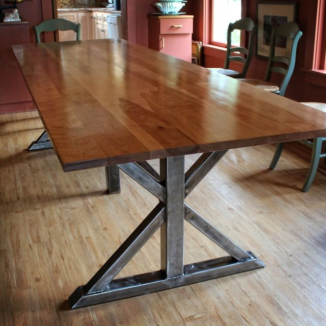Handmade Birch And Steel Trestle Dining Table By Higgins Fabrication Custommade