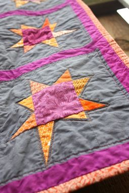 Custom Made Baby Quilt With Wonky Stars - Stroller, Crib Quilt, Travel Blanket, Play Mat