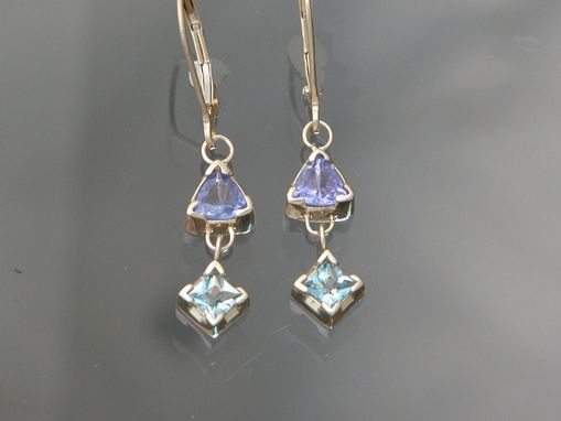 Custom Made 14kt White Gold Earrings With Tanzanite And Aquamarine.