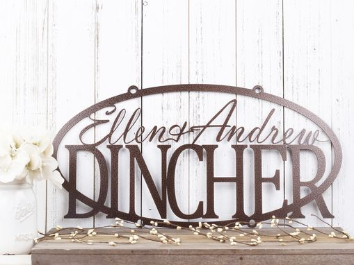 Custom Made Family Name Oval Metal Sign With First Names - Copper Vein Shown
