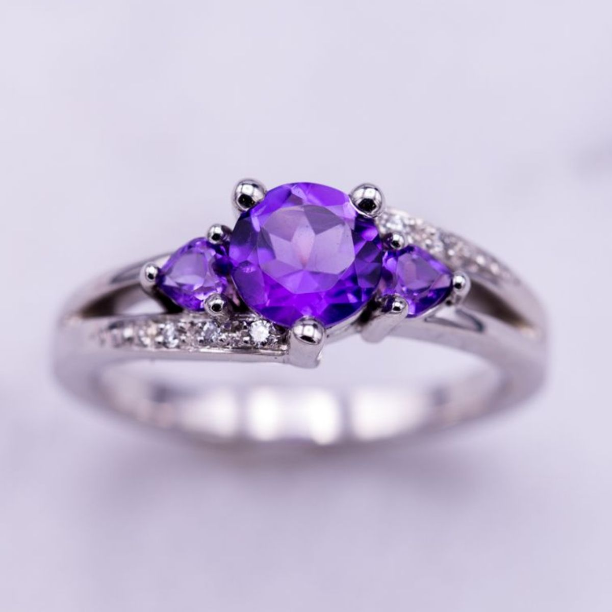 white oval gemstone diamond jewellery image purple gold rings amethyst cluster cut engagement ring