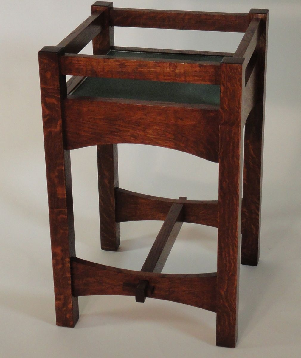 Custom Made Mission White Oak And Tile Plant Stand