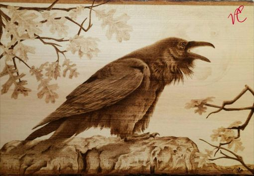 Custom Made Pyrography Fine Art - Raven