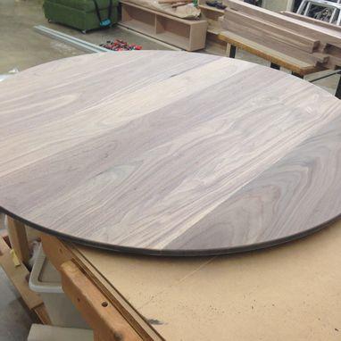 "Custom Made 60"" Round Walnut Table."