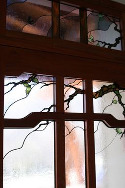 Custom Made Stained Glass Entry Landscape Detail-Door-Transom