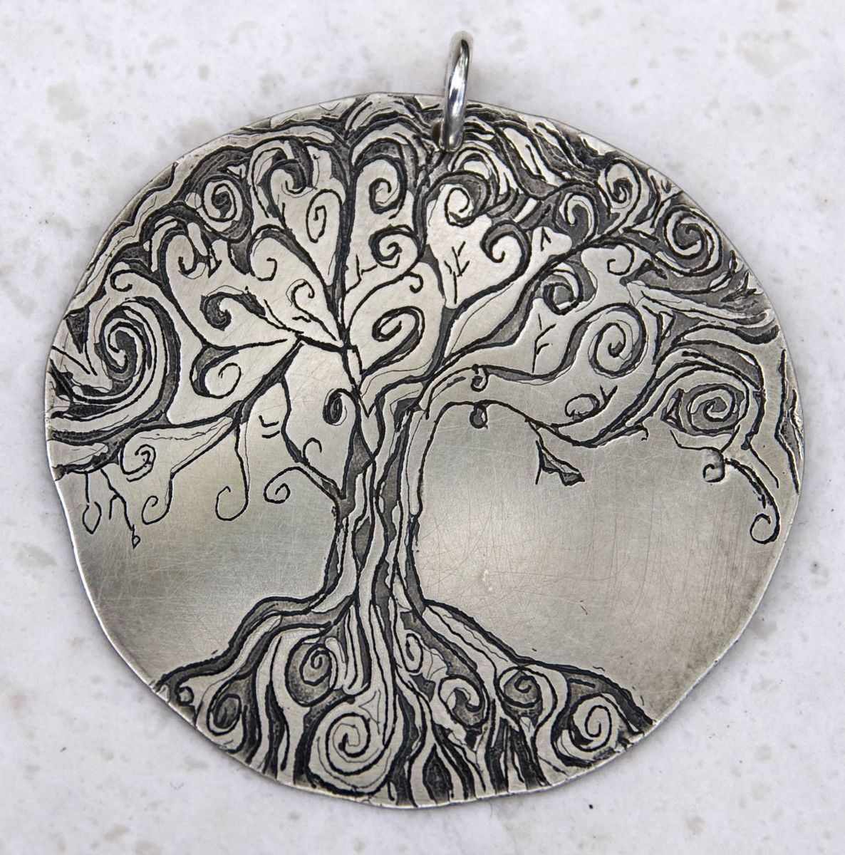 Hand made tree of life etched pendant by britta ambauen jewelry custom made tree of life etched pendant aloadofball Images