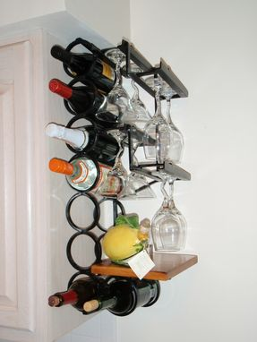 Custom Made 8-Bottle 8-Wine Glass Wrought Iron Wall Mounted Wine Rack