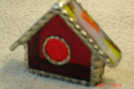 Custom Made Empty Nest Bird House Ornament In Classic Red With Bright Orange And Yellow Roof Stained Glass