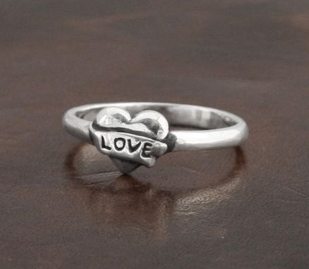 Custom Made Heart With Banner 'Love' Ring- Sterling Silver-Women Ring-Stackable