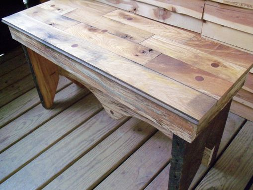 Custom Made Modern Reclaimed Rustic Oak & Spalted Beach With Walnut Inlay