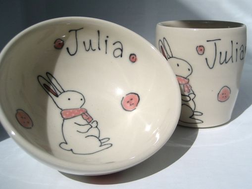 Custom Made Personalized Baby Gift - Bunny Rabbit With Scarf - Small Bowl And Juice Cup