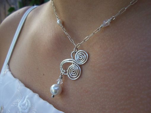 Custom Made Sterling Silver And Pearl Flower Girl Necklace