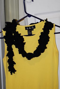 Custom Made Black Knit Ruffled Upcycled T-Shirt Fall Autumn Winter Fashion Scarf For Her