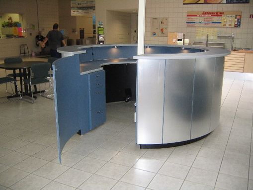 Custom Made Brushed-Aluminum Circular Reception Desk