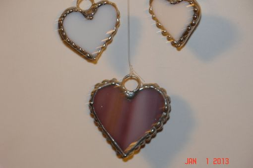 Custom Made Stained Glass Heart Suncatcher In Purple Yellow And Pink With Purple And Two Whitea Dangling Hearts
