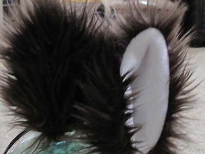 Custom Made Dark Brown Shag Faux Fur Costume Ears With Metal Snap Hair Clips To Clip To Hair