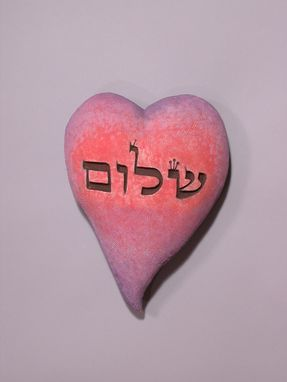 Custom Made Shalom (Peace) Sculpted Wall Heart, Red