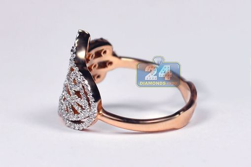 Custom Made Certified 18k Rose Gold 0.58 Ct Diamond Hamsa Hand Womens Ring